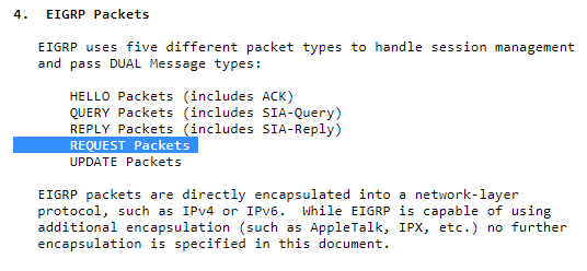 EIGRP Packets - REQUEST Packets