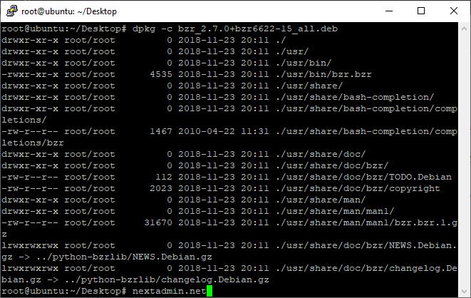 dpkg -c bzr_2.7.0+bzr6622-15_all.deb | استفاده از مدیر بسته دبیان
