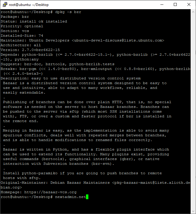 dpkg -s bzr | استفاده از مدیر بسته دبیان