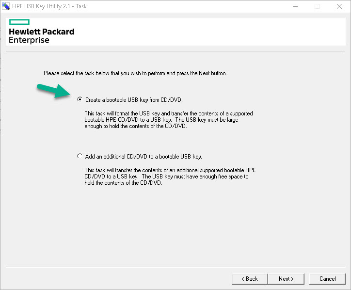 نصب SPP یا Service Pack For Proliant با استفاده از HP USB Key