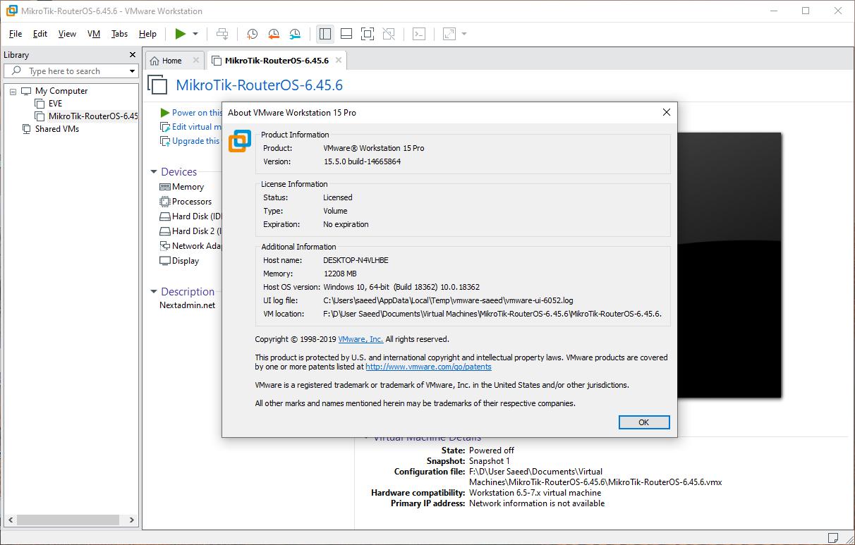 VMware Workstation 15.5.0 build-14665864