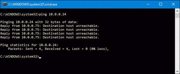 ping destination host unreachable