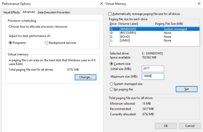 غیرفعالکردن حافظهی مجازی (Virtual Memory)