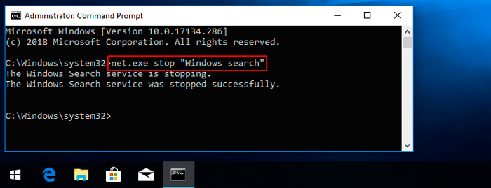 "net.exe stop ""Windows ""search"