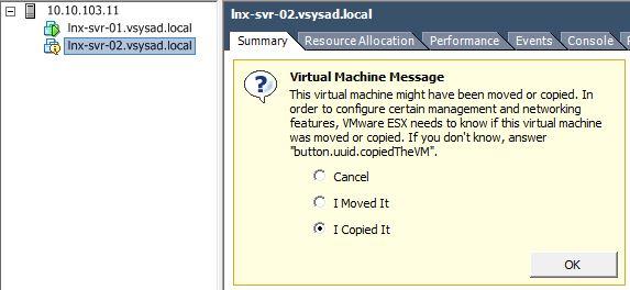 پیغام نمایش داده شده در VMware VSPhere