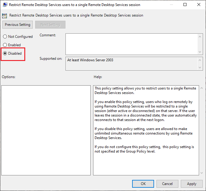 Restrict Remote Desktop Services users to a single Remote Desktop Services session