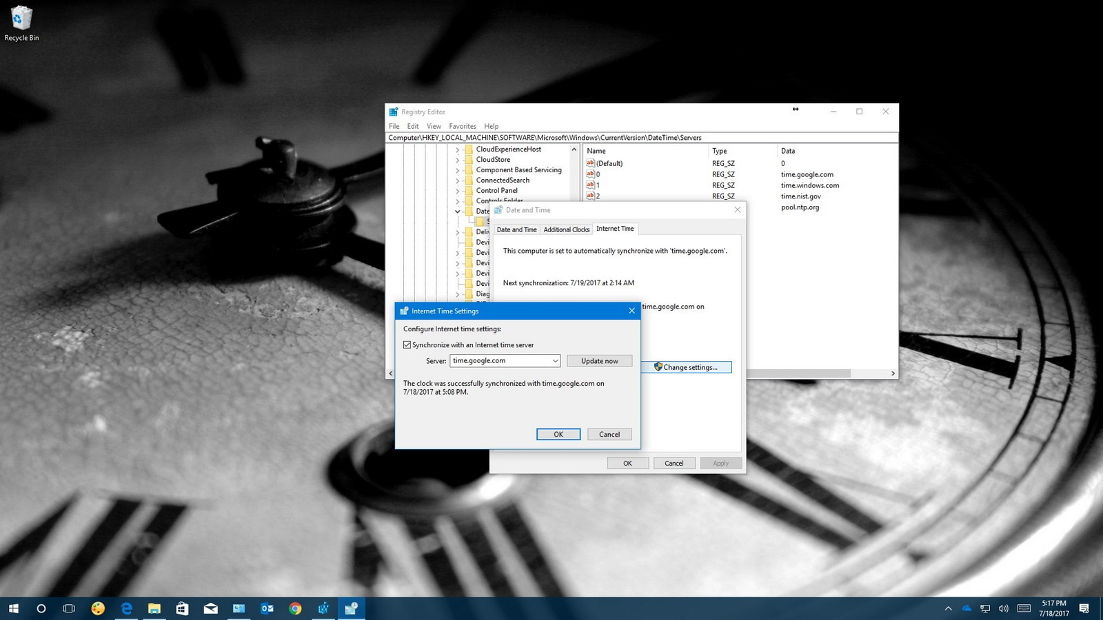 How to manage time servers on Windows 10
