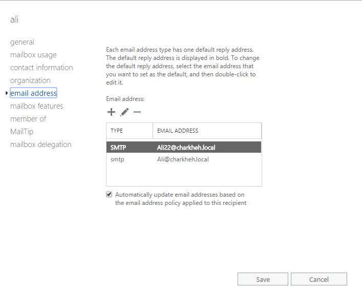 تنظیمات MailBox کاربران در Exchange