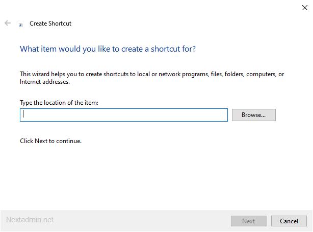 ایجاد یک Shortcut در دسکتاپ