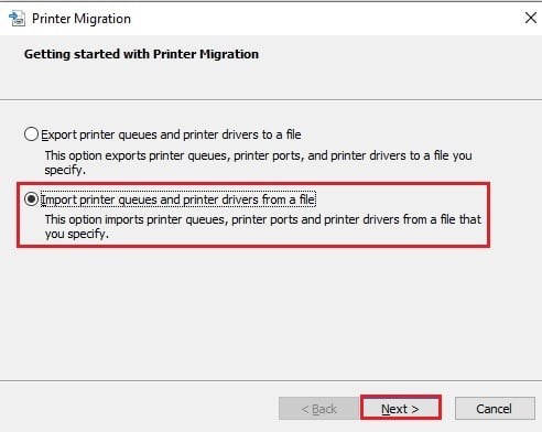 Import printer queues and drivers from a file