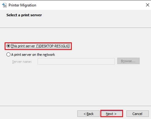 On the Select a print server screen, select This print server and click Next.