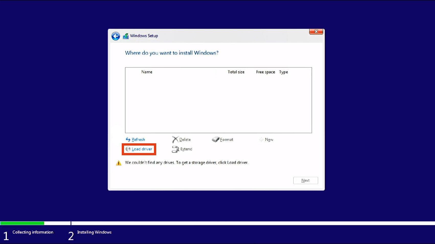 عدم شناسایی هارد در طول نصب ویندوز 10 در لپ تاپ نسل 11